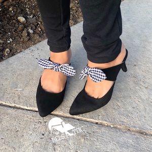 Shoes - Black Gingham Bow Strap Kitten Heel Mule Pumps